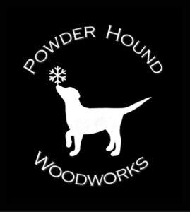 powder hound woodworks logo white on black